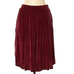 LuLaRoe Maroon Velvet Madison Skirt Large